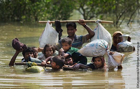 aiuti d'emergenza per i rohingya in fuga